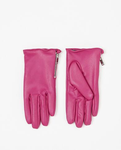 Handschoenen van kunstleer roze