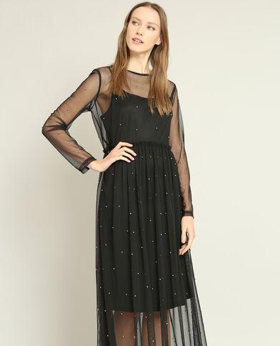 Lange jurk van tule zwart