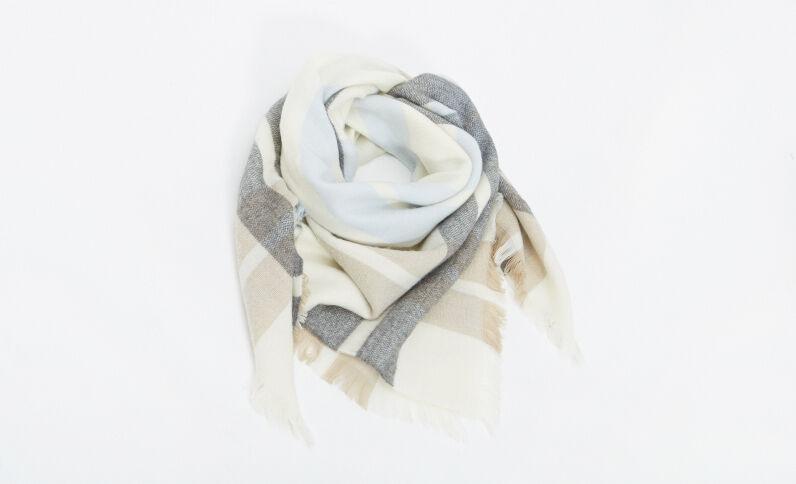 Lange sjaal met ruitjes beige