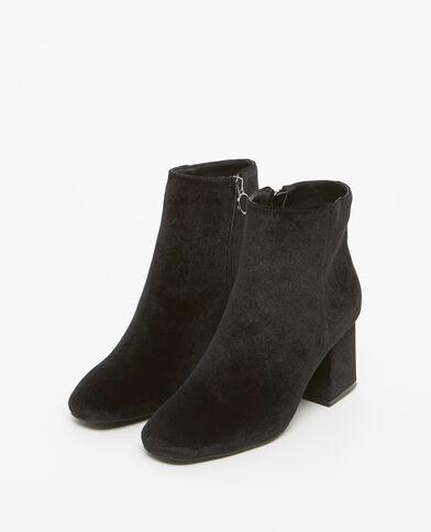 Boots à talons effet velours noir