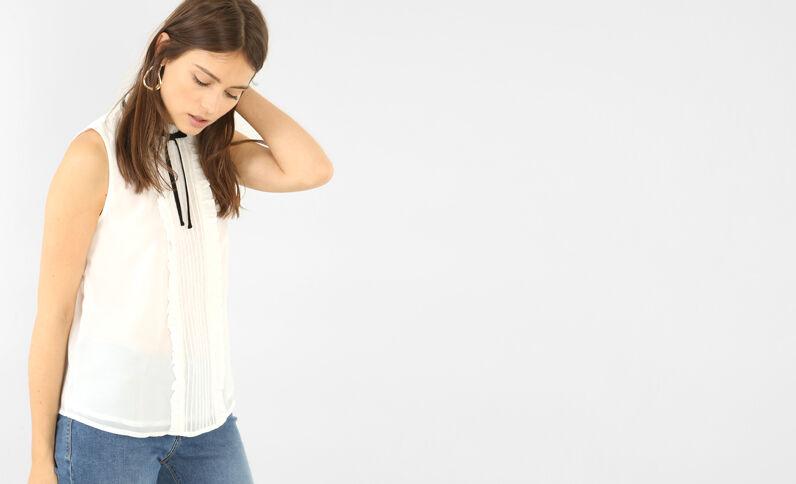 Blouse uit voile met brede hals gebroken wit