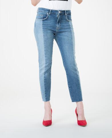 Jean skinny bicolore bleu denim