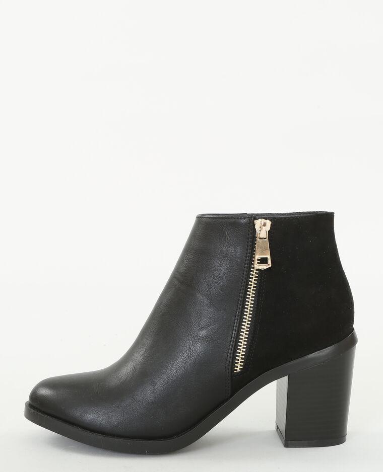 Laarzen uit twee materialen zwart