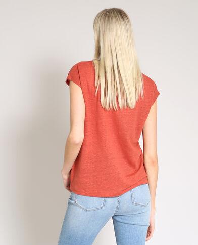 T-shirt van linnen baksteenrood