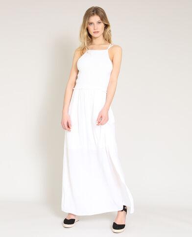 Lange jurk met dunne bandjes wit