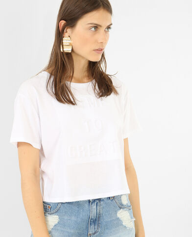 Cropped T-shirt met 3D-opschrift wit