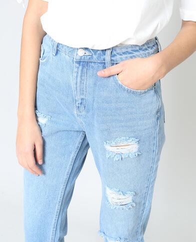Mom jeans met destroyed effect denimblauw