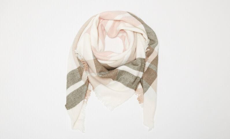 Grande écharpe à carreaux blanc