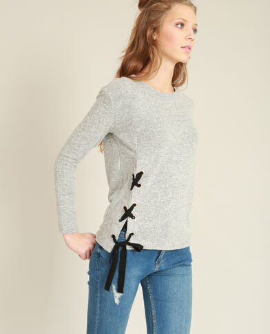 Zacht T-shirt met veters parelgrijs