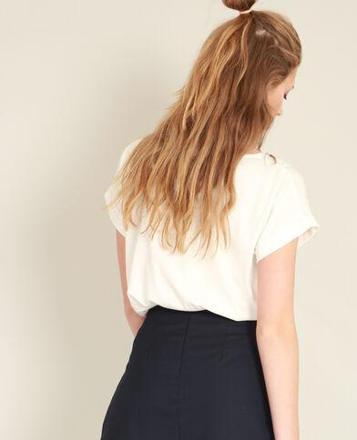 T-shirt met parels gebroken wit