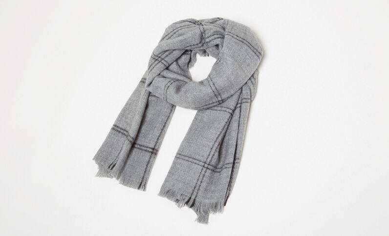 Warme sjaal met ruitjes grijs