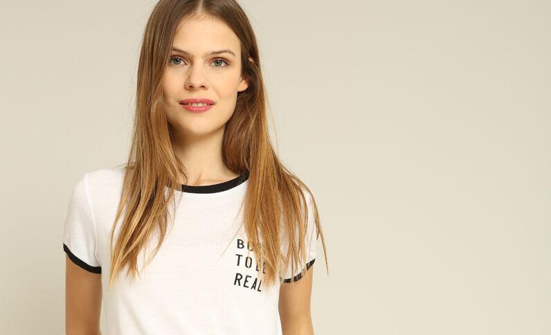 Born to be real'-T-shirt ecru