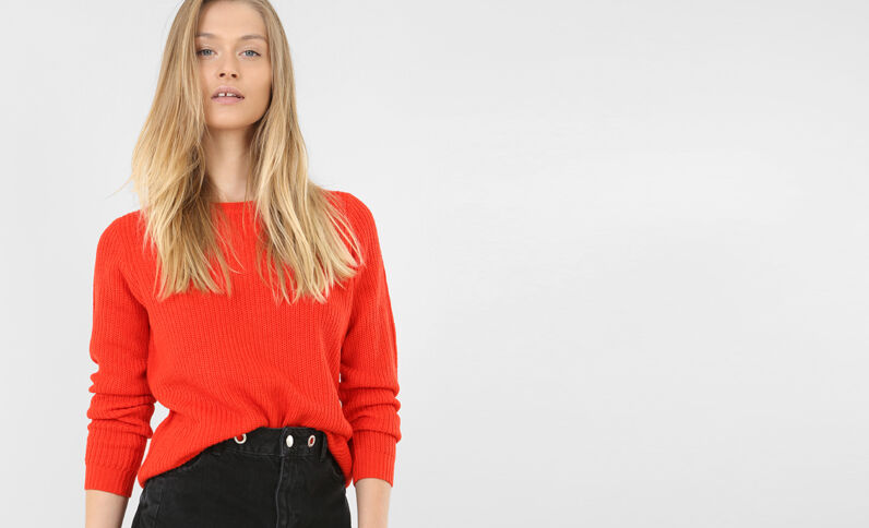 Pull basique rouge