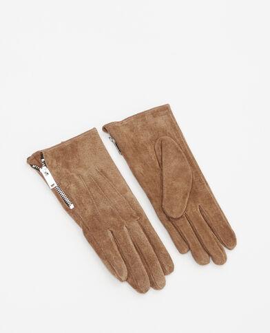 Handschoenen van splitleer camel