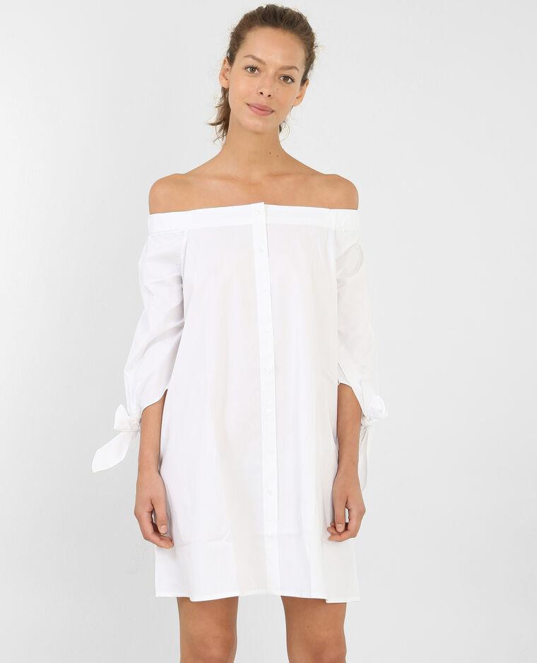 robe boutonn e col bardot blanc 780689905a09 pimkie. Black Bedroom Furniture Sets. Home Design Ideas