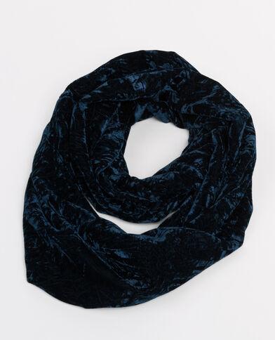 Colsjaal van bedrukt velours marineblauw