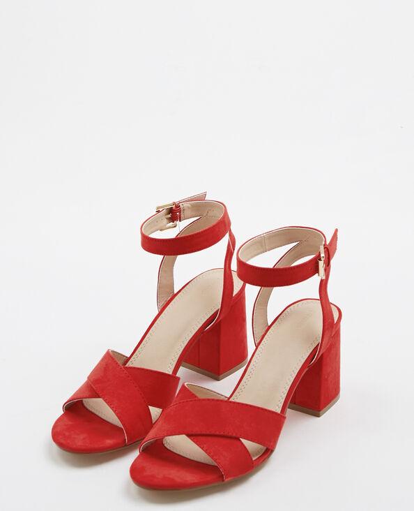 Sandalen met vierkante hakken rood