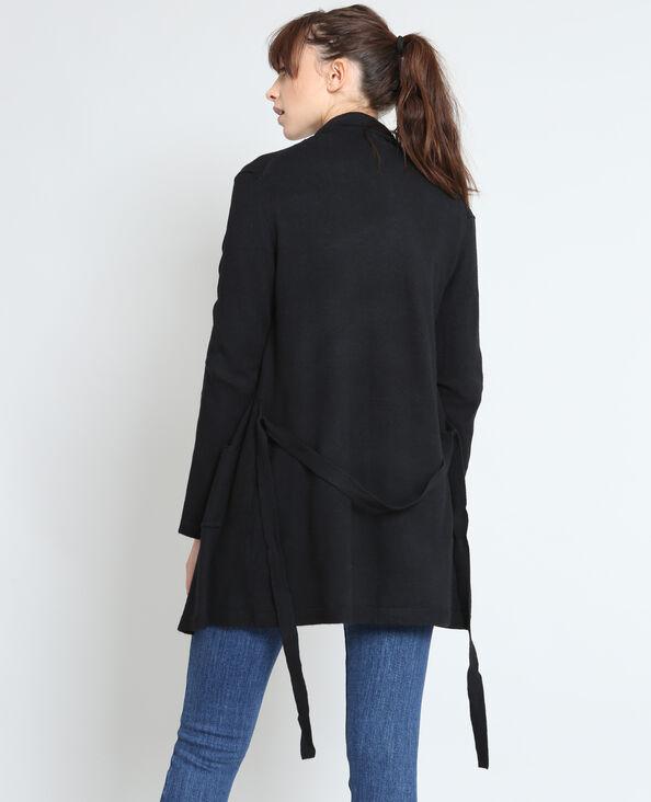 Vest met ceintuur zwart