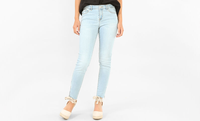 Raw cut skinny jeans met rits Lichtblauw