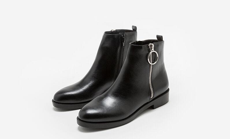 Bottines plates zippées noir