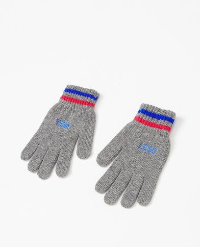 Handschoenen met geborduurd opschrift grijs