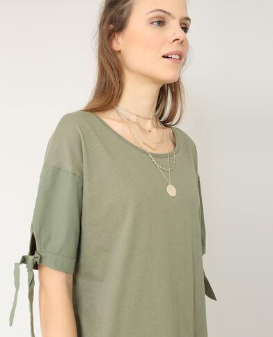 T-shirt uit twee stofsoorten groen
