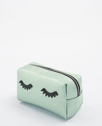 Make-uptasje met glittereyes blauw