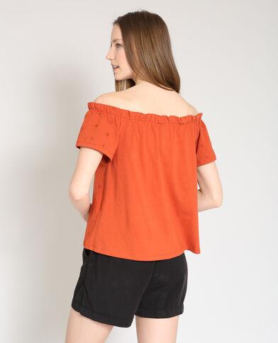 Shirt met borduursels baksteenrood