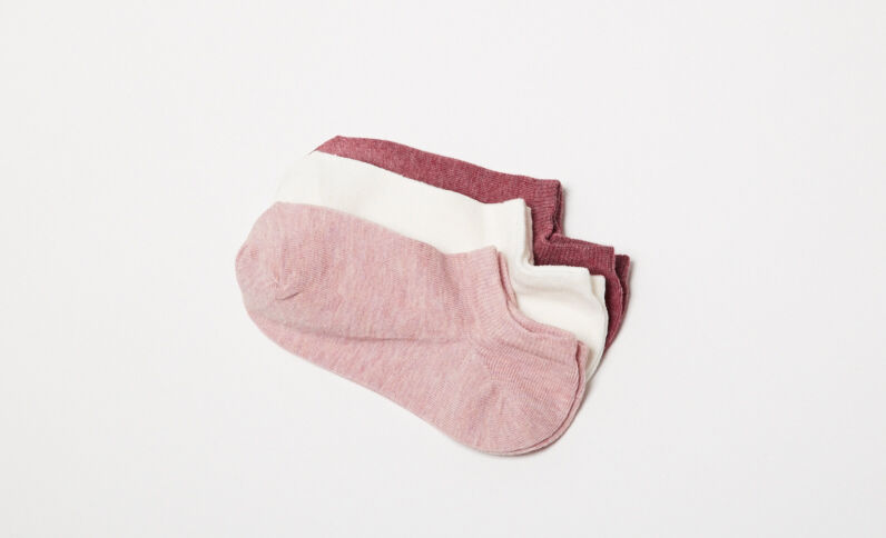 Lot de 3 paires de chaussettes basses grenat