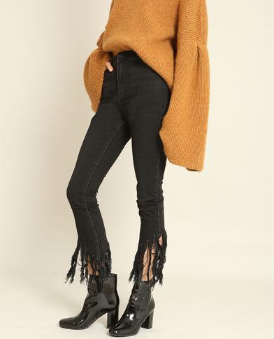 Skinny jeans met franjes zwart
