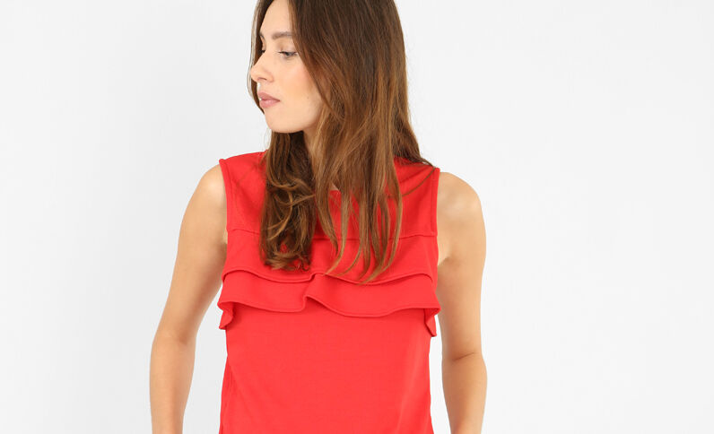 Cropped top met ruches Rood