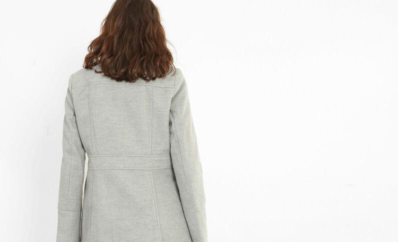 Manteau double boutonnage gris chiné