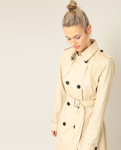 Trenchcoat geweven beige