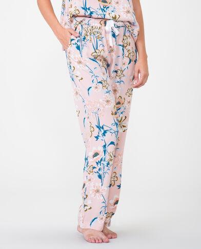 Soepelvallende broek met print bleekroze