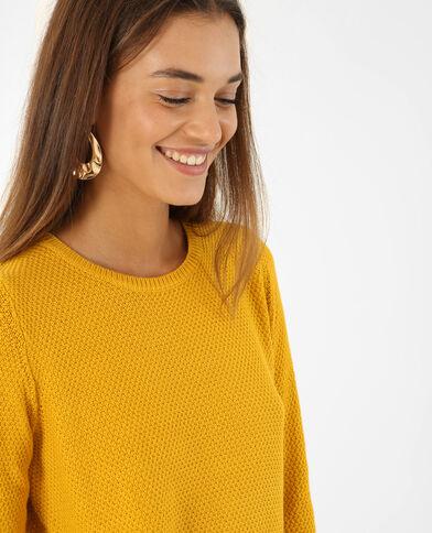 Pull maille fantaisie jaune moutarde