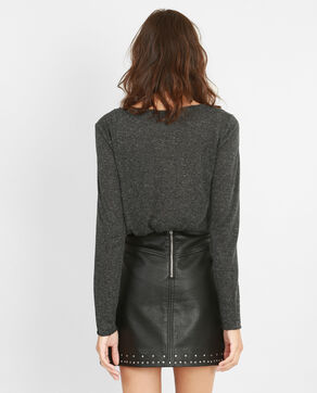 T-shirt van gemengd tricot grijs