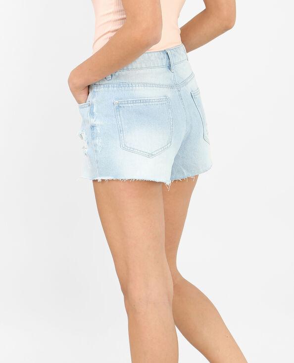 Short en jean destroy bleu