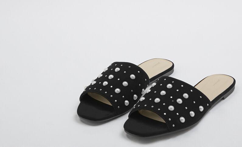 Instappers met parels zwart