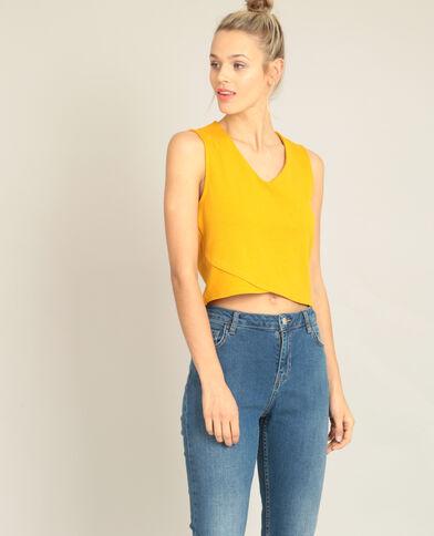 Croptop met V-hals geel