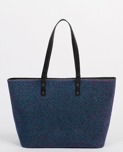Gespikkelde shopper van lurex blauw