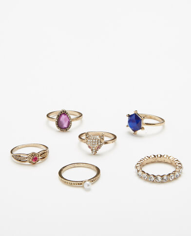 Set van 6 originele ringen goudkleurig