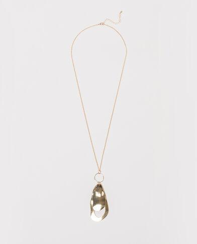 Lange gehamerde halsketting goudkleurig