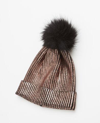 Bonnet maille enduite à pompon cuivré