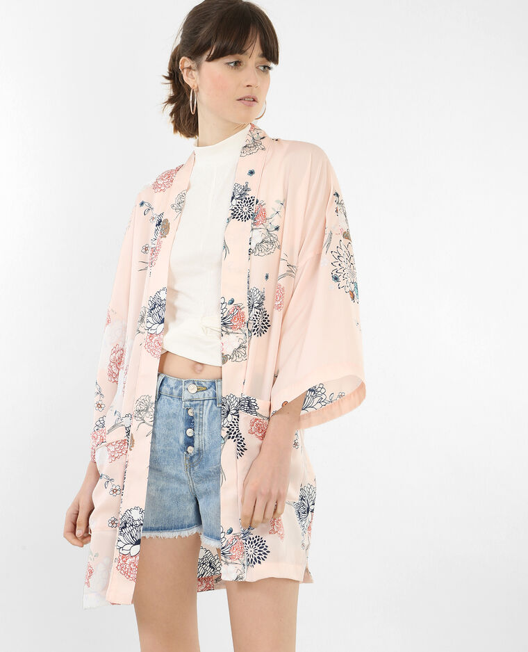 Veste de kimono satinée rose
