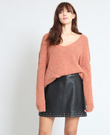 Pull en maille chaude corail
