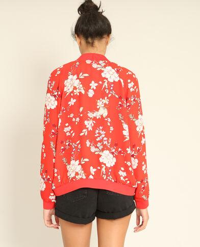 Bomber fleuri rouge
