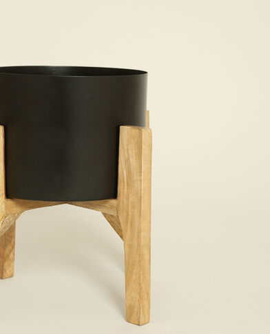 Grote vaas op houten pootjes zwart