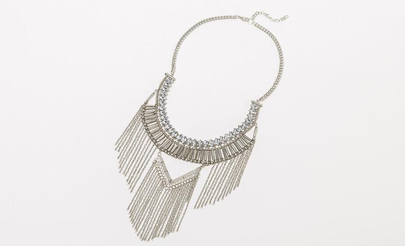 Brede halsketting met glittersteentjes zilvergrijs