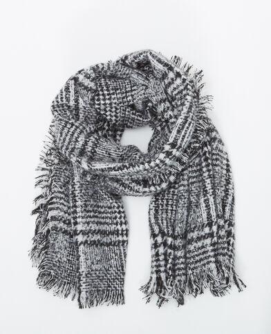 Grote tweekleurige sjaal gebroken wit