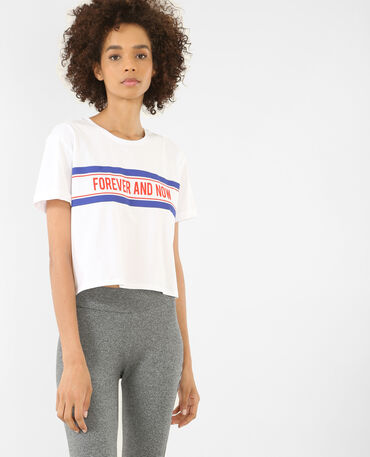 T-shirt court à message blanc